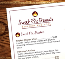 Sweet Fire Donna's Menu Design